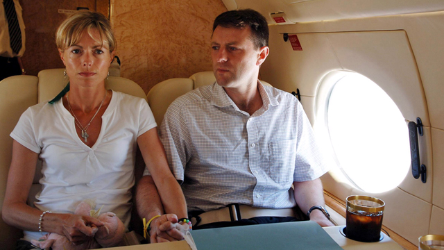 Gerry and Kate McCann aboard Sir Philip Green's private jet at Faro airport in Portugal, as they leave for Rome to prepare a meeting with the Pope Benedict XVI on 30 May, 2017. Source: AFP