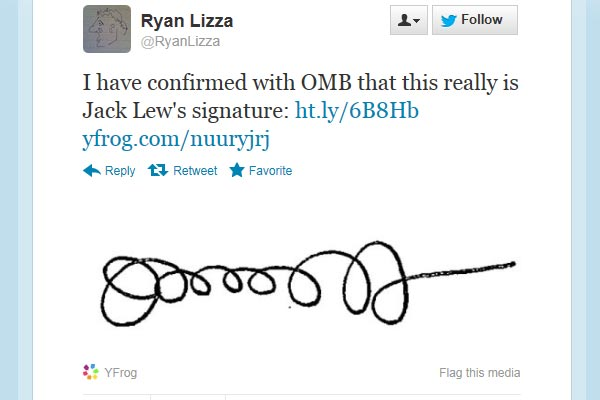 A <i>New Yorker</i> journalist confirmed the signature belongs to Lew. (Twitter)