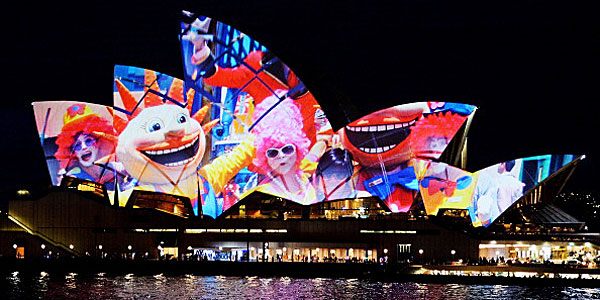 Sydney Opera House sails lit up with photos