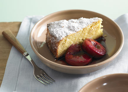 Almond Lemon Cake With Roasted Plums