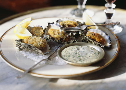 Crumbed oysters with tartare sauce