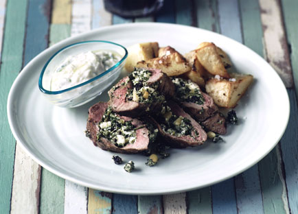 Barbecued lamb loin with lemon potatoes and tzatziki