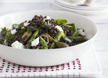 Green lentil, asparagus and feta salad