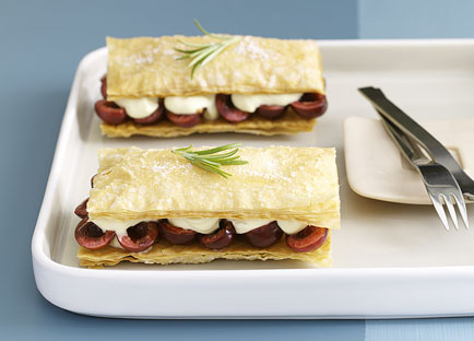 Cherry napoleons with rosemary-scented crème fraîche