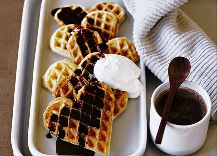 Waffles with chocolate and Pedro Ximénez sauce
