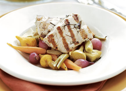 Grilled mahi mahi with baby vegetable escabeche