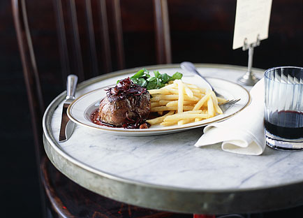 Steak with Bordelaise sauce, shoestring fries and watercress salad