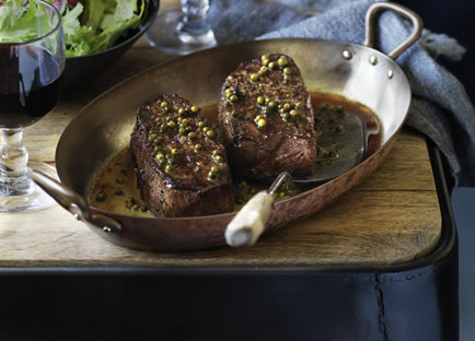 Featherblade steaks with green peppercorn sauce and salad