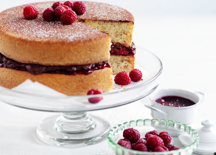 Hazelnut sponge with chocolate-raspberry cream