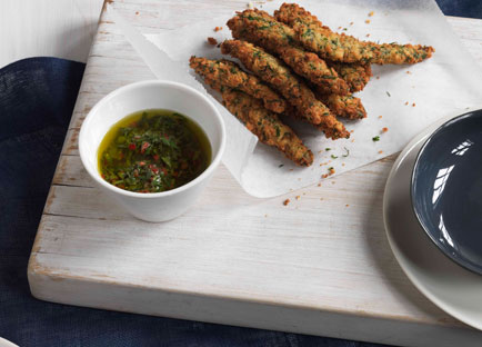 Deep-fried anchovies in dill breadcrumbs