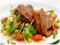 Grilled lamb with chickpea salad