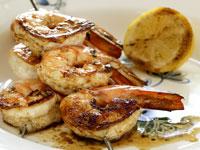 Barbecued garlic prawns