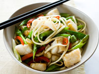 Asian hoki with udon noodles