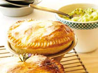 Lamb rosemary pies with avocado gravy
