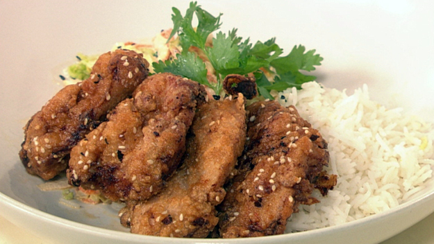 Japanese crispy chicken and coleslaw