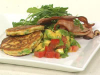 Corn cakes with avocado and tomato salsa