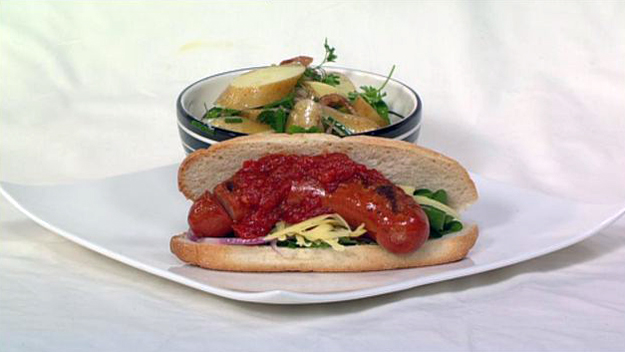 Chilli jam hotdogs with summer potato salad