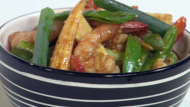 Honey prawn stir-fry