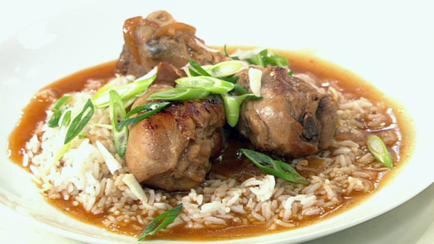 Filipino chicken adobo with steamed rice