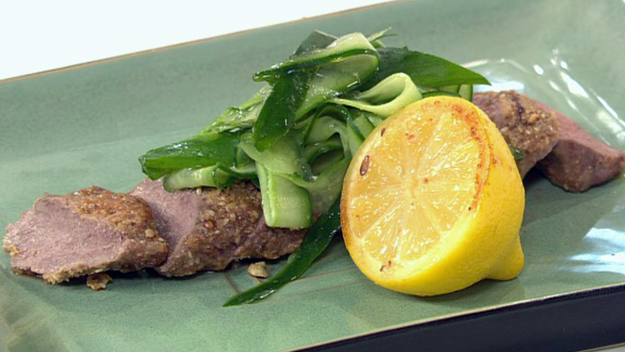 Dukkah coated lamb with roasted lemon