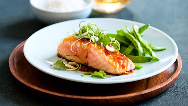 Salmon with teriyaki chilli sauce