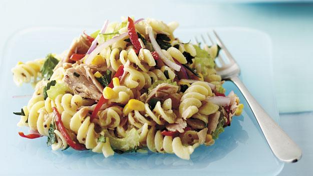 Warm tuna pasta salad recipe 9kitchen for Tuna fish pasta salad