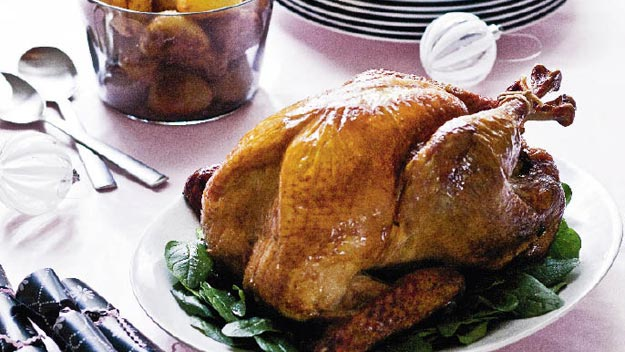 Roast turkey with cranberry and macadamia stuffing