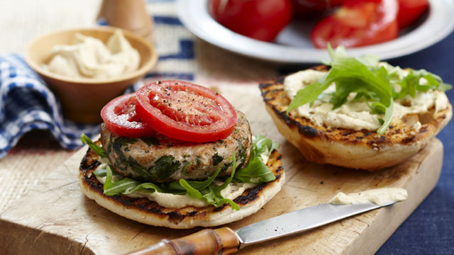Chicken and hummus burger
