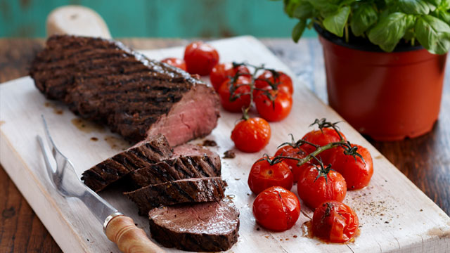 Marinated beef fillet with truss tomatoes