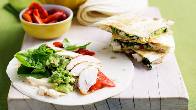 Chicken and avocado quesadillas