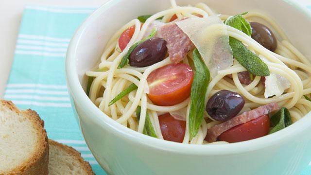 Salami, sage and parmesan pasta