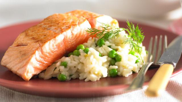 Pea And Dill Risotto With Salmon Recipe 9kitchen