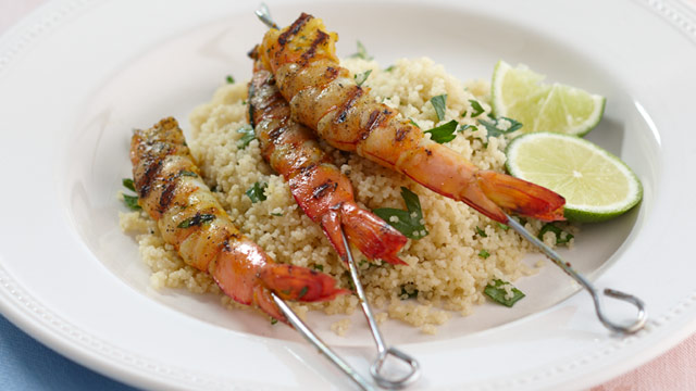 Spiced barbecued prawns
