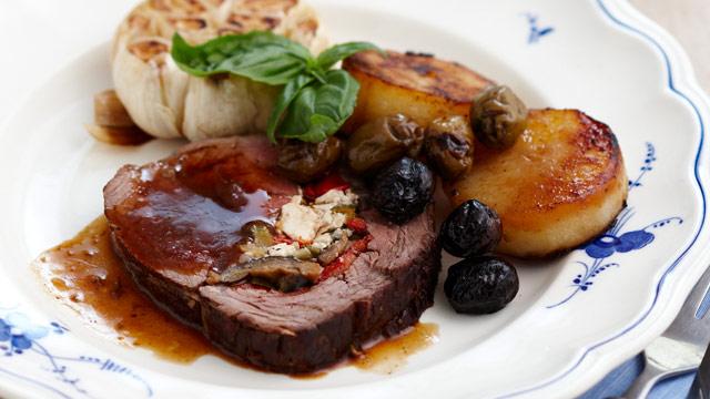 Stuffed Mediterranean beef