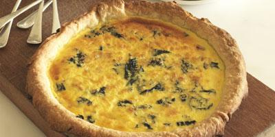 Pancetta, leek & stinging nettle quiche
