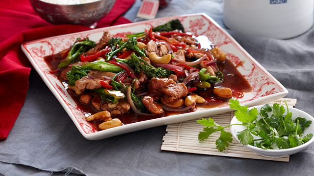 Pork with broccolini and oyster sauce