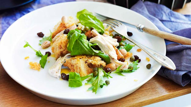 Chicken salad with sourdough croutons, raisins, almonds & capers