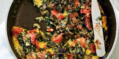Silverbeet & salami frittata