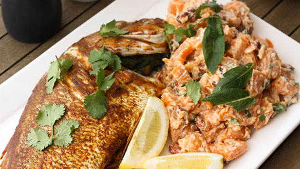 Barbecue Moroccan whole snapper with herbed sweet potato salad