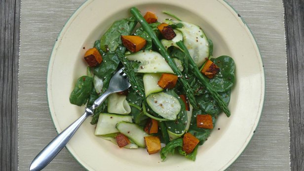 asparagus, zucchini and roast pumpkin salad