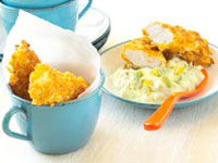 Crunchy chicken sticks with avocado and sweet corn dip