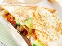 Chicken quesadillas with tomato and avocado