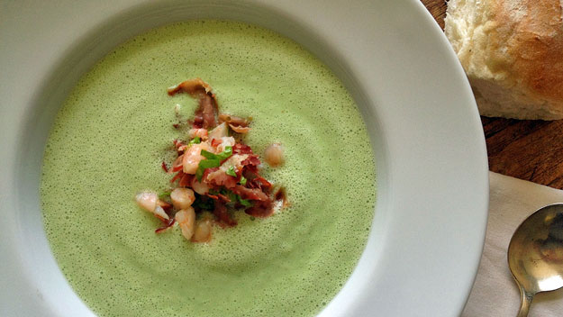 Chilled cucumber soup with prawn and prosciutto crumble