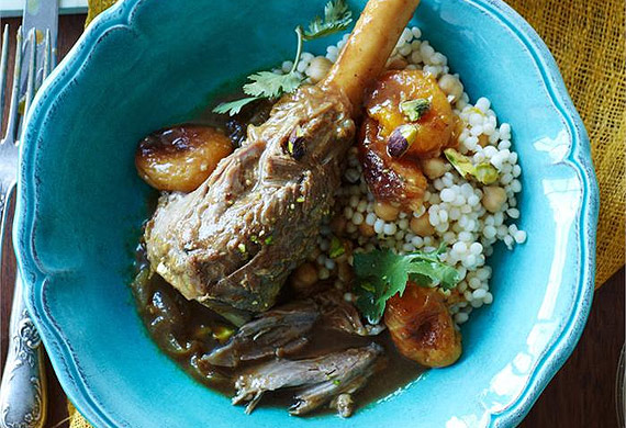 Moroccan lamb shanks with apricots and pistachios