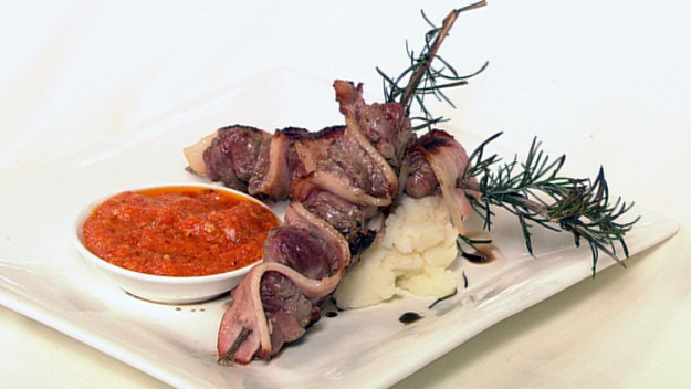 Bacon, lamb and rosemary skewers