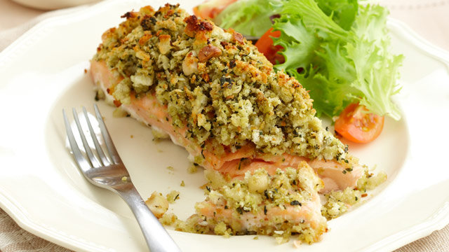 Pesto crusted salmon