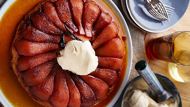 Pear tarte tatin with cinnamon ice cream