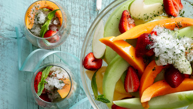 Champagne fruit salad with mint lime granita
