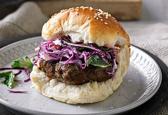 Mini smoked beef burgers with slaw