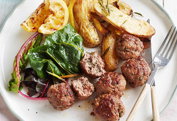 Spiced lamb and mint meatballs with lemon yoghurt